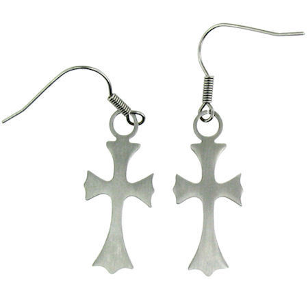 Stainless Steel   Cross   Earrings   Approx. Width: 11mm   Approx. Length: 27mm    Approx. Weight: 1.1 grams