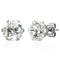 Stainless Steel   Round   8MM Cubic Zirconia   Stud Earrings