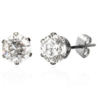 Stainless Steel   Round   6MM Cubic Zirconia   Stud Earrings