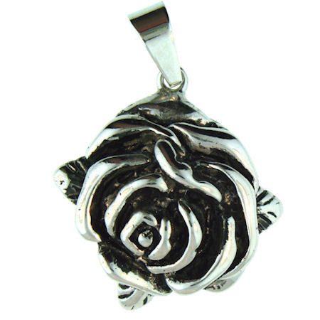 Description: Stainless Steel Flower Pendant.   Stainless steel flower pendant with intricate detailing.  Pendant Approx. Weight: 11.7 grams   Approx. dimensions: 29mm x 40mm