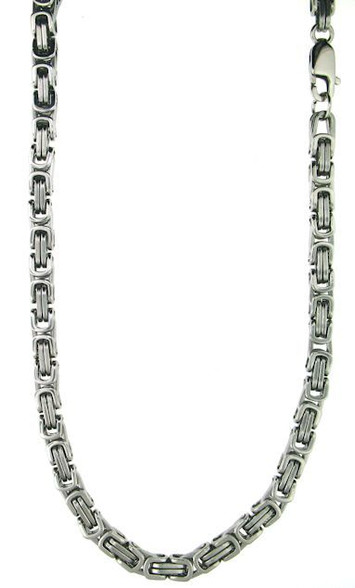 Stainless Steel   Byzantine Chain  8mm  Length: 24""