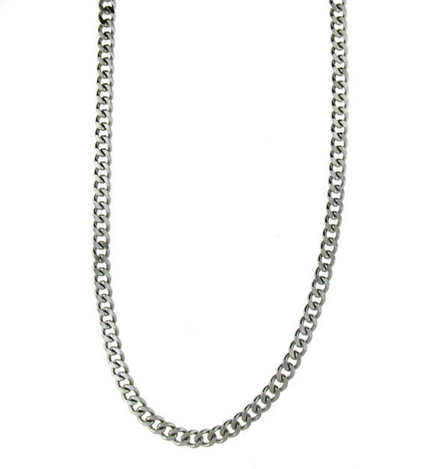 "Stainless Steel   Curb Chain   Necklace   Weight: 17.2 grams   Approx. Width: 4mm  Available Lengths:   16"",18"",20"",22"",24"", 26"