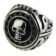 Large stainless steel skull ring with intricate detailing.  Available Sizes: 8 - 16   Approx. Dimensions: 30mm x 26mm!!   Approx. Weight: 19 grams