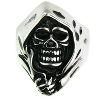 Large stainless steel Grim Reaper ring with intricate detailing.  Available Sizes: 8 - 16   Approx. Dimensions: 1.10 x 0.87 Inches