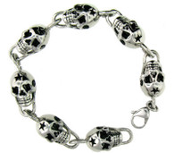 "Biker Bracelets   7"" - 10"" Stainless Steel Skull Bracelet   Highly polished stainless steel skull bracelet with intricate detailing.   Available in 7"" - 10"" long   Approx. Weight: 43 grams   Approx. Width: .39 inches"
