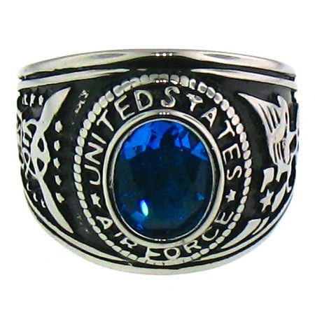 Stainless Steel United States Air Force Ring   Ring has a blue center stone!  Available Sizes: 9 - 15   Approx. Width: 20mm   Approx. Weight: 23.9 grams