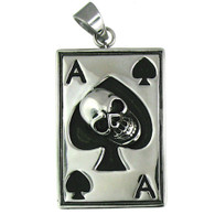 Stainless Steel   Ace Spades   Skull Pendant   Weight: 39.6 grams   Approx. dimensions:   33mm x 66mm