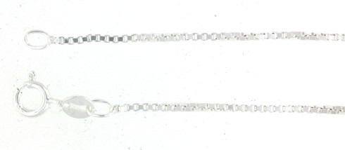 Sterling Silver Box Chain  Approx. Dimensions: 1.3mm    Approx. Weight: 3.9grams Sizes 16,18,20