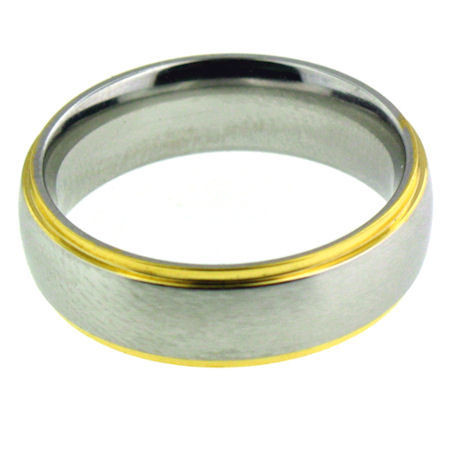 6mm Stainless Steel Gold Plated Comfort Fit Band Ring  Steel band ring can be engraved or stamped!   Finish Type: Gold Plated   Ring Type: Comfort Fit   Top Width: 6mm  Sizes 6-16