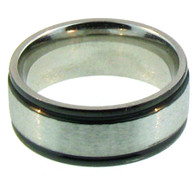 8mm Stainless Steel   Black Trim Comfort Fit Band Ring  Steel band ring can be engraved !   Finish Type: Black Trim   Ring Type: Comfort Fit   Top Width: 8mm  Available Sizes: 6 - 16