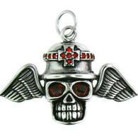 Large Stainless Steel Skull Wings Pendant With Red Eyes  Large stainless steel skull wings pendant with intricate detailing.   Pendant has red cubic zirconia accents.  Pendant Approx. Weight: 15.5 grams   Approx. dimensions: 1.96 Inches  x  1.61 Inches  All Pendants Come with a Free Stainless Steel Rope Chain