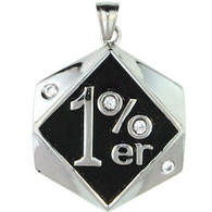 Large Stainless Steel 1%er CZ Pendant.   Large stainless steel 1%er pendant with CZ accents.  Pendant Approx. Weight: 26.8 grams   Approx. dimensions:1.53 Inches x 2.20 Inches   All Pendants come with a Free Stainless Steel Rope Chain