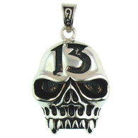 Large Stainless Steel Jawless 13 Skull Pendant.   Large stainless steel jawless 13 skull pendant with intricate detailing.  Pendant Approx. Weight: 26.6 grams   Approx. dimensions: 1.14 Inches x 1.88 Inches