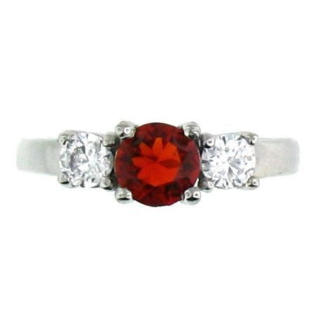 Description: Stainless Steel Red Cubic Zirconia Ring  Available Sizes: 5 - 10  Center stone: January Siam - Red CZ.