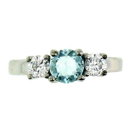 Stainless Steel Aquamarine Cubic Zirconia Ring  Available Sizes: 5 - 10   Stainless steel cubic zirconia ring.   Center stone: March Birthstone Aquamarine CZ  Approx. Width: 6mm  Approx. Weight: 2.80 grams
