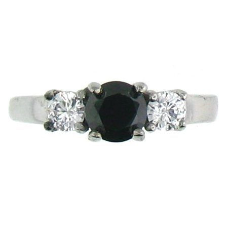 Stainless Steel Black Cubic Zirconia Ring  Available Sizes: 5 - 10   Stainless steel cubic zirconia ring.   Center stone: Black CZ  Approx. Width: 6mm  Approx. Weight: 2.80 grams
