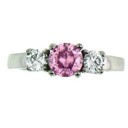 Stainless Steel Pink Cubic Zirconia Ring  Available Sizes: 5 - 10   Stainless steel cubic zirconia ring.   Center stone: October Birthstone  - Pink CZ  Approx. Width: 6mm  Approx. Weight: 2.80 grams