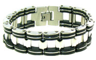 """Stainless Steel & Black Rubber Bracelet   Highly polished stainless steel bracelet with black accents.   Available Lengths: 8"""" or 9""""   Approx. Width: 17mm   Approx. Weight: 50.4 grams"""
