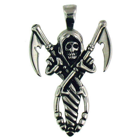 Large Stainless Steel Skull Death Sickle Pendant.   Large stainless steel skull death sickle pendant.  Pendant Approx. Weight: 8.2 grams   Approx. dimensions: 27mm x 42mm  Comes with free Stainless Steel Ball Chain