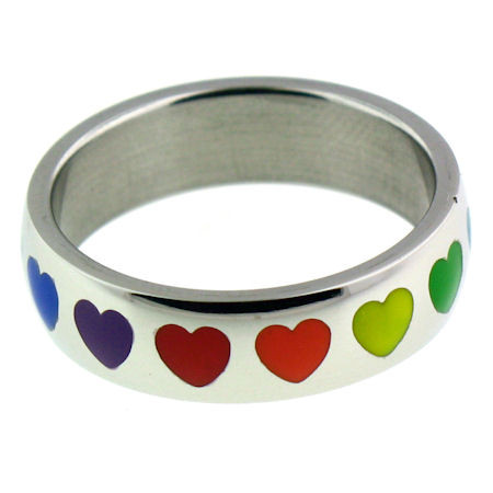 Stainless Steel Rainbow Hearts Ring   Highly polished stainless steel rainbow hearts ring.   Approx. 6mm diam.  Available in sizes: 5 - 10