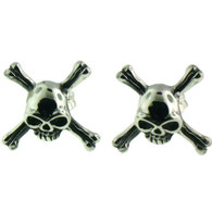 Stainless Steel   Skull Crossbones   Post Earrings
