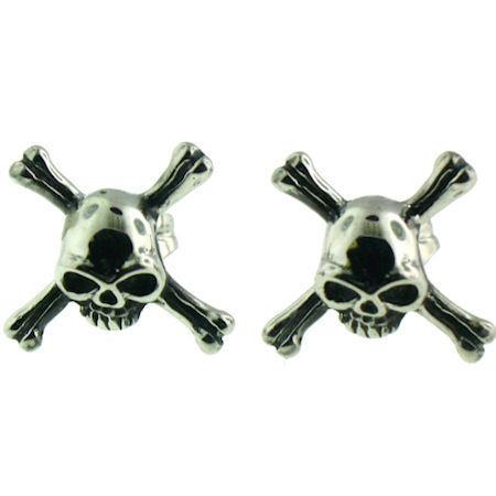 Stainless Steel   Skull Crossbones   Post Earrings