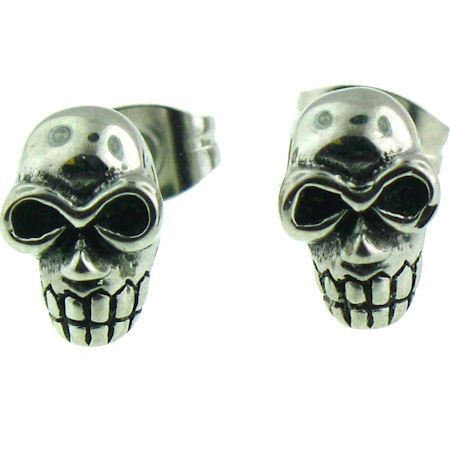 Stainless Steel   Skull   Post Earrings