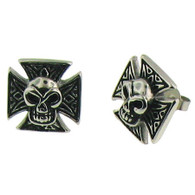 Stainless Steel Maltese Cross Skull Earrings