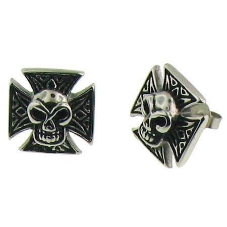 Stainless Steel Maltese Cross Skull Earrings