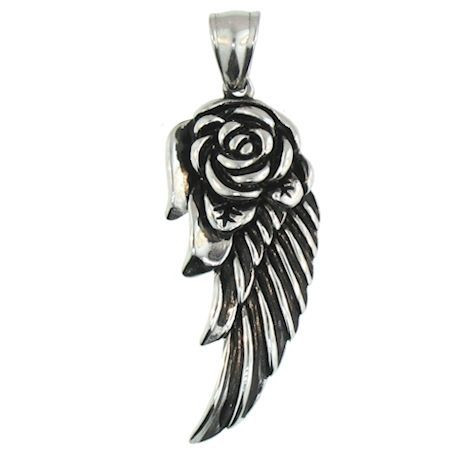 Large Stainless Steel Rose Wings Pendant.   Large stainless steel rose wing pendant with intricate detailing.  Comes with a Free Stainless Steel Rope Chain