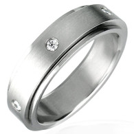 Description: Stainless Steel Cubic Zirconia Spinner Ring  Center ring manually spins!!!