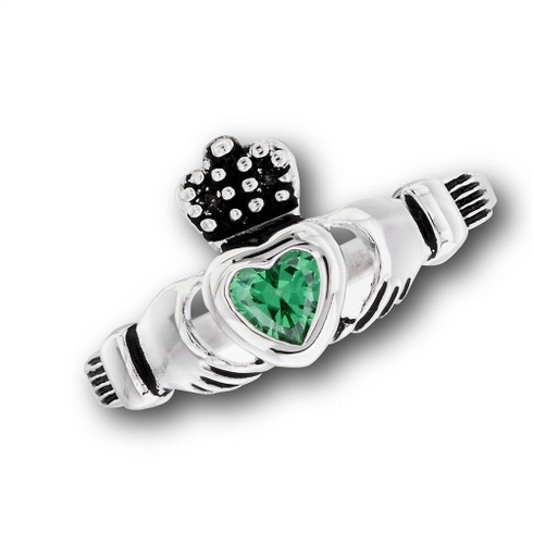 Stainless Steel Claddagh Celtic Ring w/ Emerald Green CZ Heart Sizes 5-10