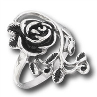 "Elegant Stainless Steel Rose Ring w Leaves Design  Floral arrangement"" at top is 1+1/8"" long x 5/8"" wide  Size 6-10"