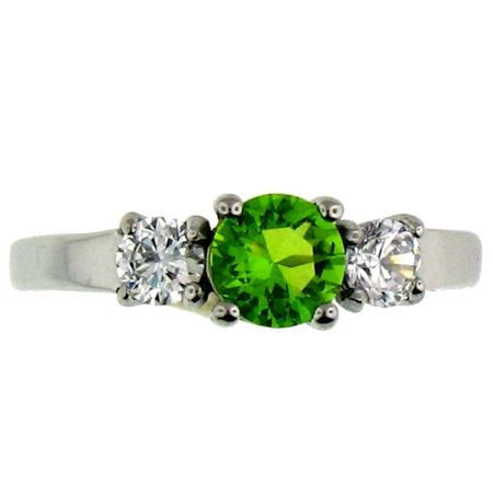 Stainless Steel August Cubic Zirconia Ring  Available Sizes: 5 - 10   Center stone: August Birthstone - Peridot CZ