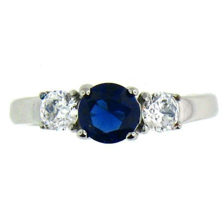 Stainless Steel September Cubic Zirconia Ring  Available Sizes: 5 - 10   Center stone: September Birthstone - Sapphire Blue CZ