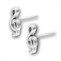 Stainless Steel Music Note Stud Earrings Face Height: 13 mm (0.51 inch) Metal Material: Stainless Steel