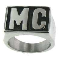 Stainless steel MC letter ring  Available Sizes: 8 - 16  Approx. 15mm wide