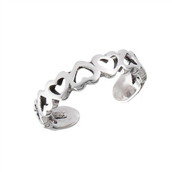 Sterling Silver Hearts Toe Ring adjustable Face Height: 4 mm (0.16 inch) Metal Material: Sterling Silver 9.25