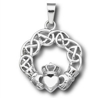 Stainless Steel Claddagh Pendant  Includes Stainless Steel Box Chain 2.5 mm