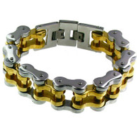 Stainless Steel Biker Chain Bracelet    Finish: Gold Plated