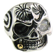 Stainless Steel Skull Ring   Ring has one CZ eye!!!  Available sizes 16-20