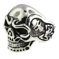 Stainless Steel Skull Ring with Skeleton on side  Available in large sizes 16-20
