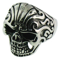 Stainless steel skull ring with intricate detailing with Tribal Design.  Available Sizes:16- 20   Approx. 33mm wide