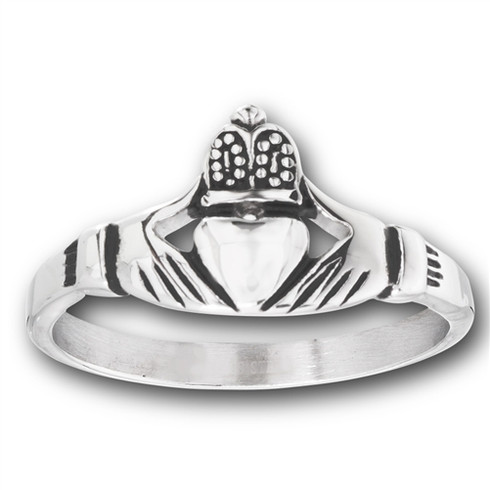 Stainless Steel Men's Claddagh Ring  Face Height: 10 mm (0.39 inch)