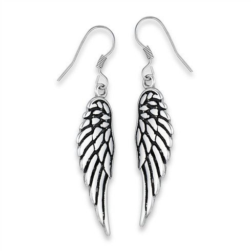 Stainless Steel Angel Wings Earrings 2 Inches Long
