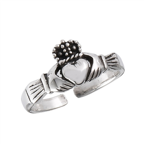 Sterling Silver Claddagh Toe Ring Adjustable