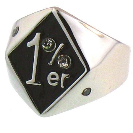 Stainless Steel 1%er CZ Ring