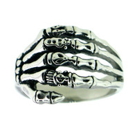 Stainless Steel Skeleton Hand Biker Ring