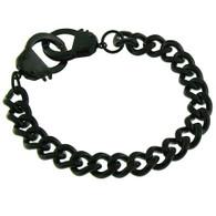 Stainless Steel Black Handcuffs Bracelet