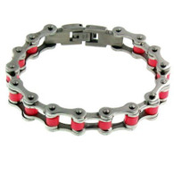 "Stainless Steel & Pink Bike Chain Bracelet    Available in Sizes: 7"" or 8"""
